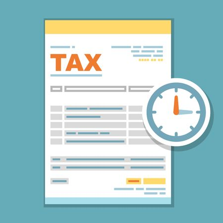 Tax payment time form icon - reminder of state government taxation, tax form with clock