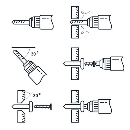 Hole drilling icon - set of drill tools and process of perforation, tightening of screws guide Illustration