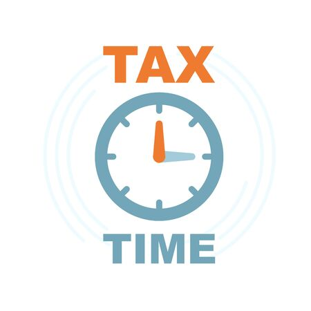 Time to pay tax - icon of accounting reminder with clock, taxes payment