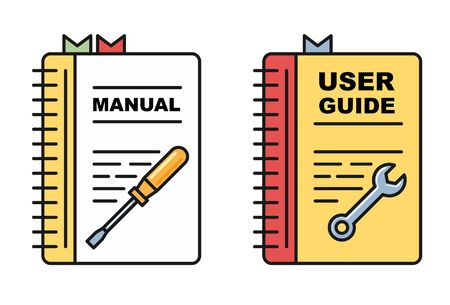 User guide book - manual or instructions icons, spiral book with tools 向量圖像