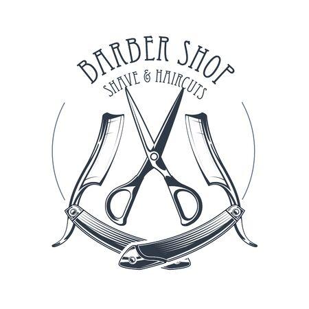 Vintage barbershop or hairdressing salon emblem, scissors and old straight razor, barber shop