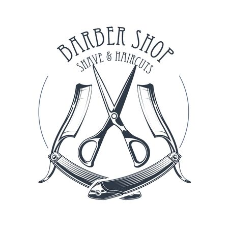 Vintage barbershop or hairdressing salon emblem, scissors and old straight razor, barber shop