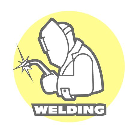 Welder logo, welding operator at work, gas cutting torch, emblem for welding service