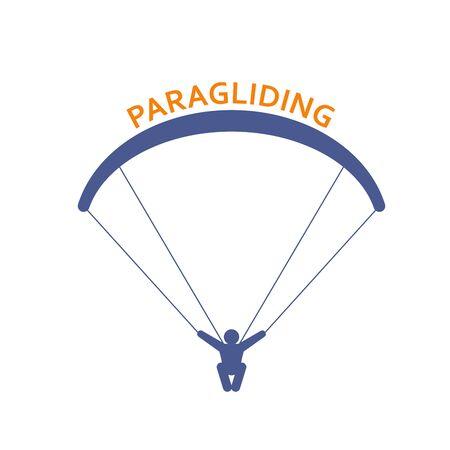Paragliding icon - parachutist front view, man skydiver emblem Banque d'images - 134755402