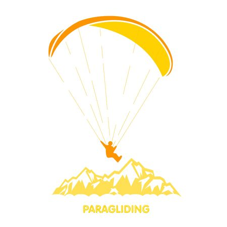 Paragliding  with skydiver flying over mountains, parachutist over peak 向量圖像