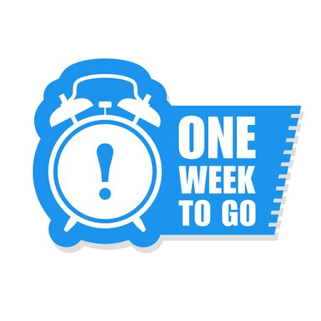 One week to go sticker - sale label with alarm clock and haste call
