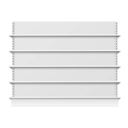 Empty store shelves mockup with blank retail shelfs, wide supermarket showcase template