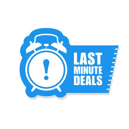 Last minute deals sticker - sale label with alarm clock and haste call 向量圖像