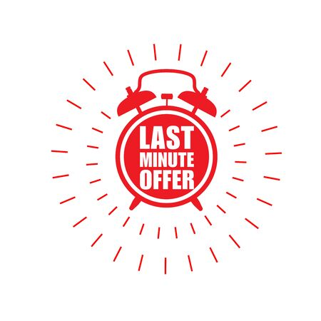 Last minute offer sticker - sale label with ringing alarm clock and haste call Illustration