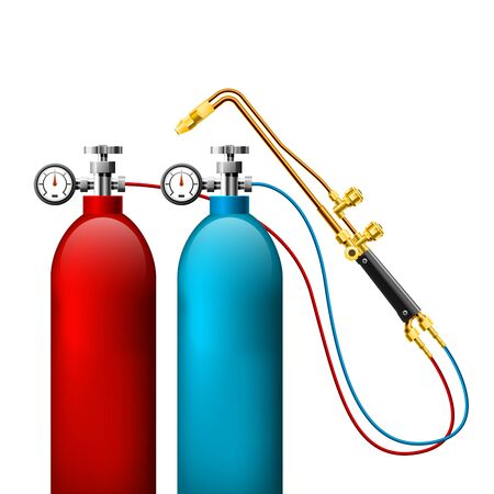 Welding gas bottles and oxy acetylene cutting torch - gas tank and burner, welding gear Ilustrace