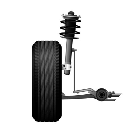 Wheel alignment icon - car suspension service, shock absorber, axle and wheel