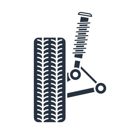 Car suspension service, Wheel alignment icon - axle and wheel absorber