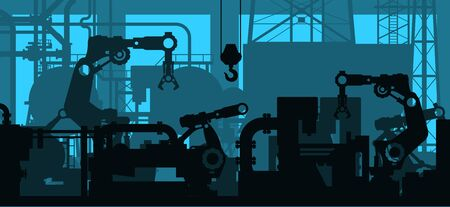Industrial plant shop interior, factory production line - manufacturing department with engineering tool silhouettes