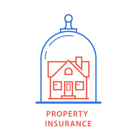 Property insurance icon - house under glass dome, insurance protection