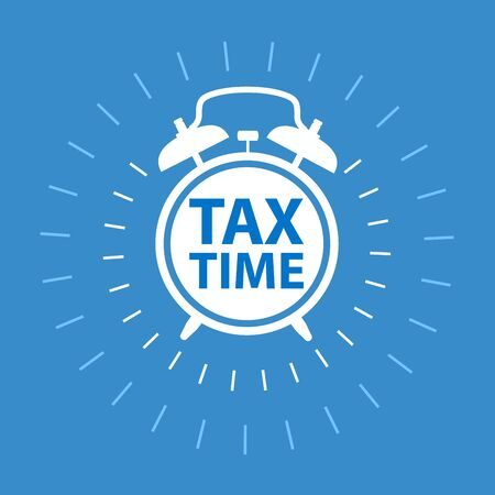 Tax payment time icon - reminder about taxation, tax time clock Illustration