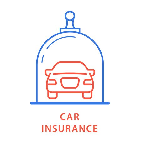 Vehicle insurance icon - car under glass dome, insurance protection Çizim