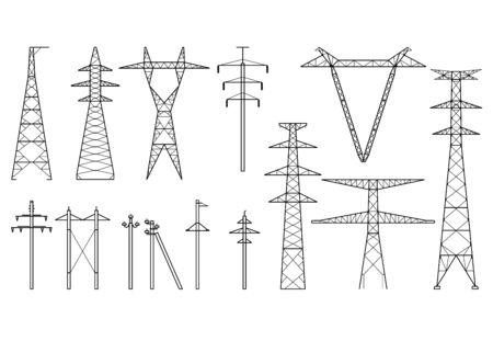 Pylônes tangents, pylônes électriques haute tension, ligne de transport d'électricité, types de poteaux électriques et pylônes métalliques