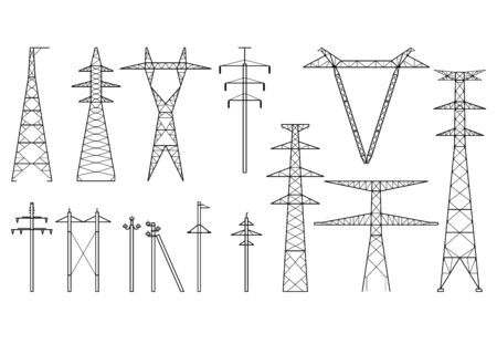 Tangent towers, high voltage electric pylons, power transmission line, types of electric poles and metal towers