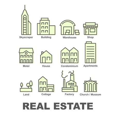 Real estate icons, property and investment - apartment buildings, factory, warehouse, condominium and skyscraper