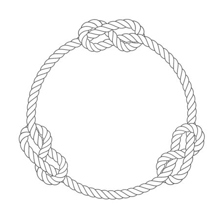 Round rope frame with knots, simple style line rope, marine border