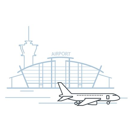 Airport terminal building front view and airplane on landing strip, airport icon Иллюстрация