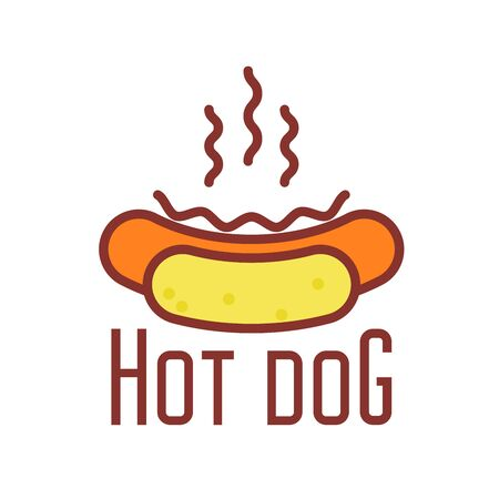 Hot dog icon - street food emblem with hotdog, line style  Illustration