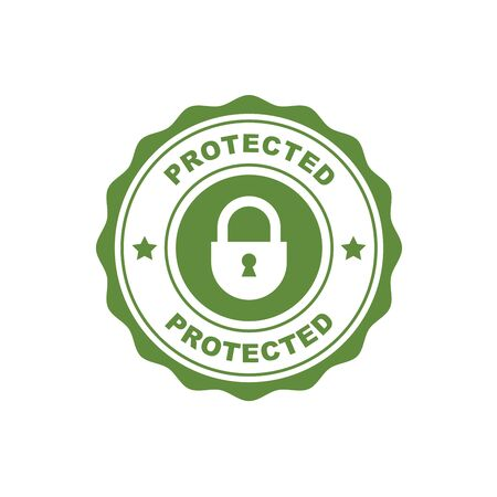 Protected - security and safety seal with padlock, symbol of defence standard