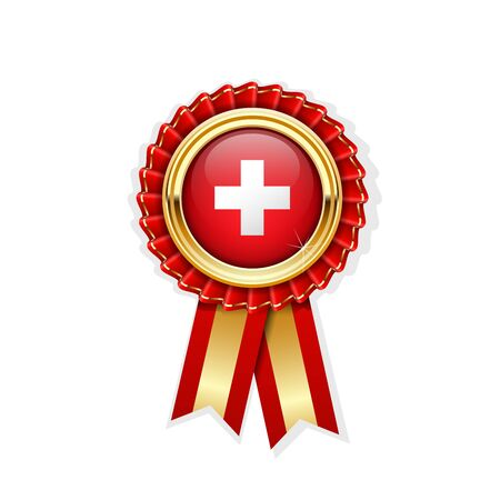 Red rosette with Switzerland flag in gold badge, Swiss award or quality symbol