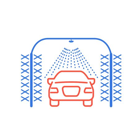 Automatic car wash icon, car, sprinkler and cylindrical brushes front view
