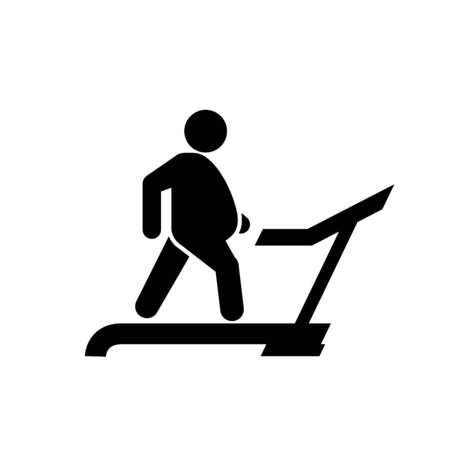 Fat man on treadmill icon, physical exercise to weight loss, diet and sport concept