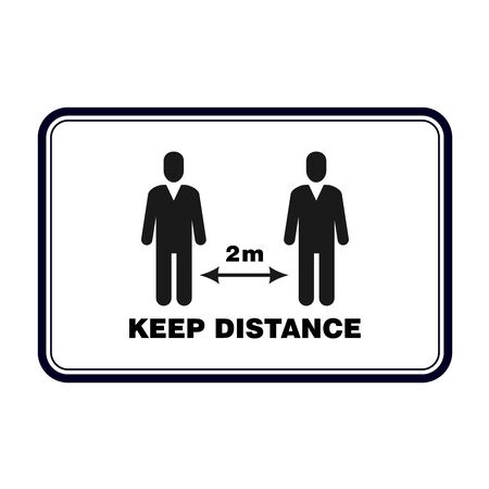 Keep distance sign, social distancing banner to avoid contamination of virus