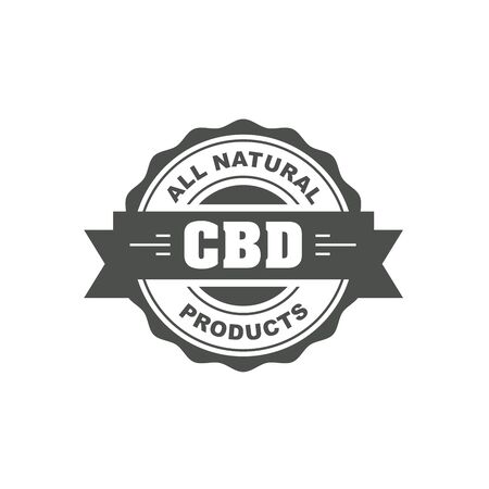 Cannabidiol CBD stamp, cbd oil natural food sign, web seal or badge Иллюстрация