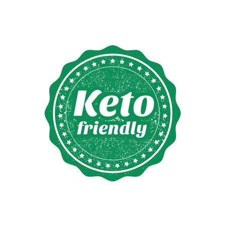Keto friendly sign or stamp on white background, vector illustration