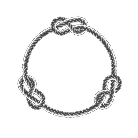 Rope circle frame with knots, simple style line rope, marine border Иллюстрация