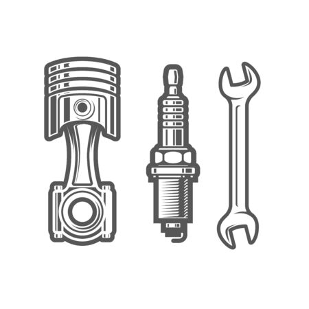 Car service station sign, spark plug, piston and spanner icons, maintenance shop logo Иллюстрация