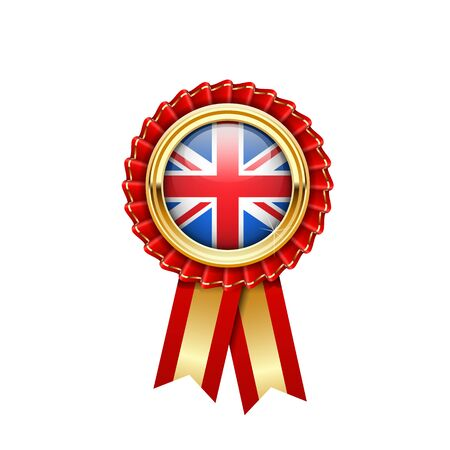 Red rosette with Great Britain flag in gold badge, Britain award or quality symbol Illustration