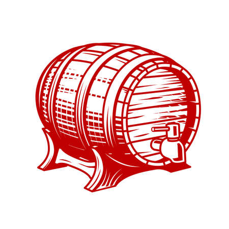 Old wooden wine or beer barrel with faucet in engraving style, cask