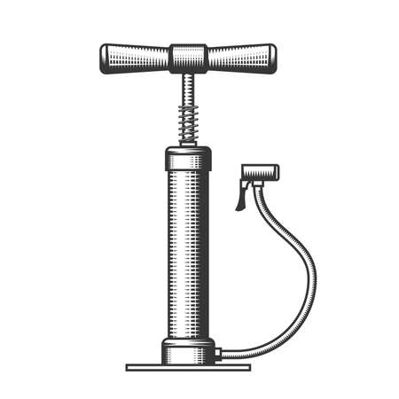 Old hand air-pump, bicycle pump with wooden handles in engraving style