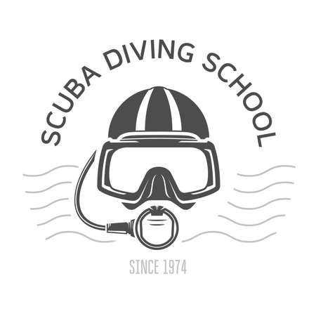 Scuba diving emblems, diving mask and aqualung, underwater swimming design with face of diver