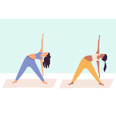 Two women practicing yoga together, group of women performing gymnastic exercise in gym, aerobics class, training, sports activity, flat cartoon colorful vector illustration