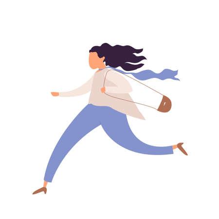 Running woman, office worker character in hurry, rush hour, hasteing woman with handbag, oversleeping work day start