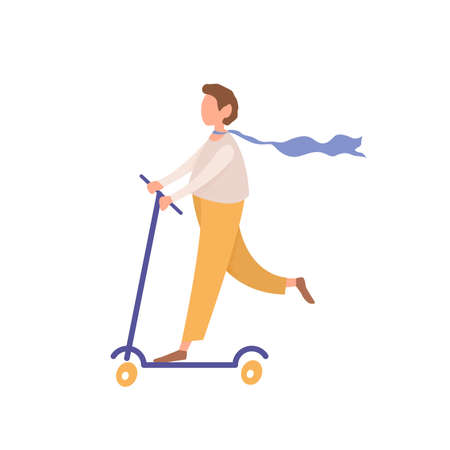 Young faceless man riding kick scooter, cartoon style teenager character pushes off scooter, flat vector illustration isolated on white background Illustration