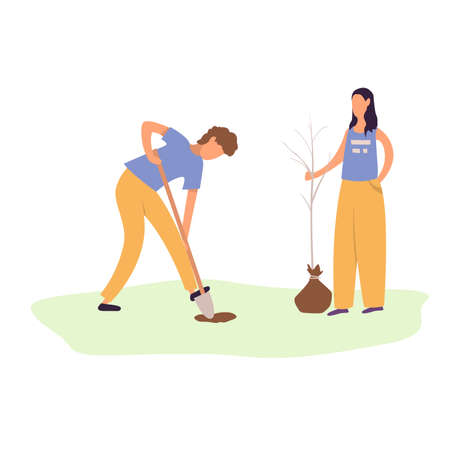 A young man and woman plant a tree. Gardening, garden tools, spring. Couple planting a seedling. Flat cartoon vector illustration. Illustration