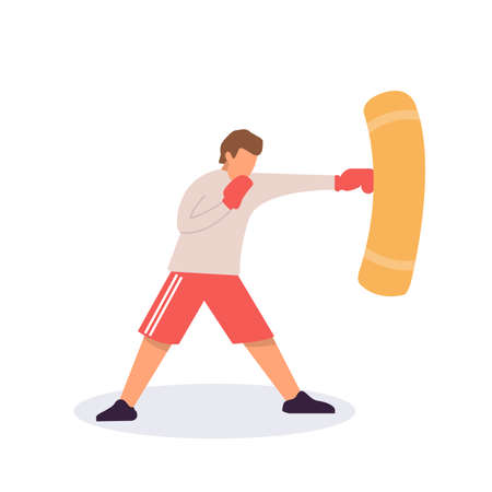 Man in boxer gloves exercising with punching bag in gym. Sporty man during boxing training at gym, flat vector illustration