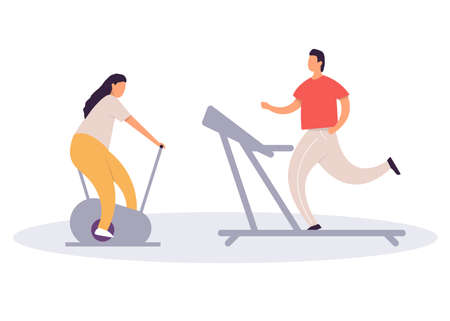 Fat man running on treadmill and fat woman on exercise bicycle. Cartoon character doing cardio training on exercise machine, weight loss concept. Flat vector illustration