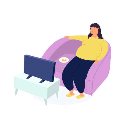 Obese young woman, fat girl sitting on couch and watching tv. Food addiction, obesity and eating and nutritional disorder concept. Eating behavior problem, fatness and overeating. Flat cartoon vector illustration.