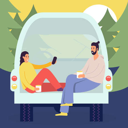 Cheerful young couple enjoy vacation sitting in rear of van, people in camper van, picnic in the forest in the house on wheels Illusztráció