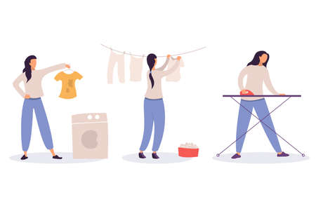 Woman at housework - laundry, drying and ironing of linen, girl washing dirty clothes, housekeeping and cleaning concept