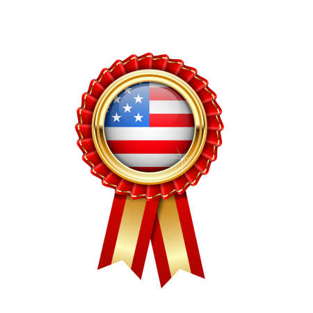Red rosette with USA flag in gold badge, American award icon or quality symbol with flag of United States of America