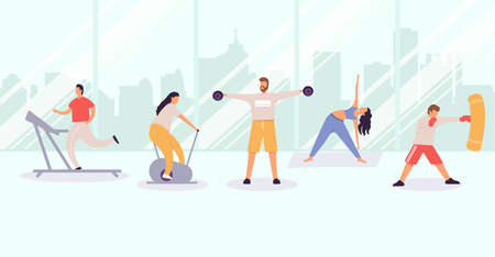 People exercising at gym, men and women exercising in city view, training and sport activity vector flat illustration
